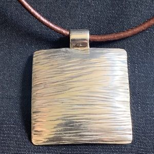 Textured Square Pendant With Leather Cord Necklace